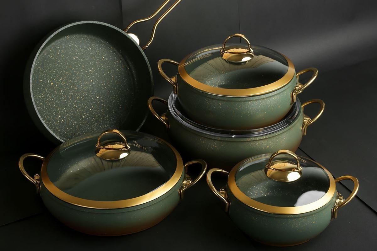 Изображение Yeşil Rengi Granit Tencere Seti Gold Cam Kapak